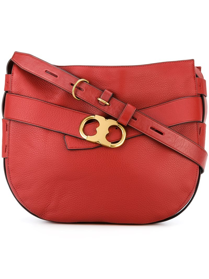 Metallic Buckle Shoulder Bag, Women's, Red - predominant colour: true red; secondary colour: gold; occasions: casual, creative work; type of pattern: standard; style: saddle; length: shoulder (tucks under arm); size: standard; material: leather; pattern: plain; finish: plain; season: a/w 2016; wardrobe: highlight