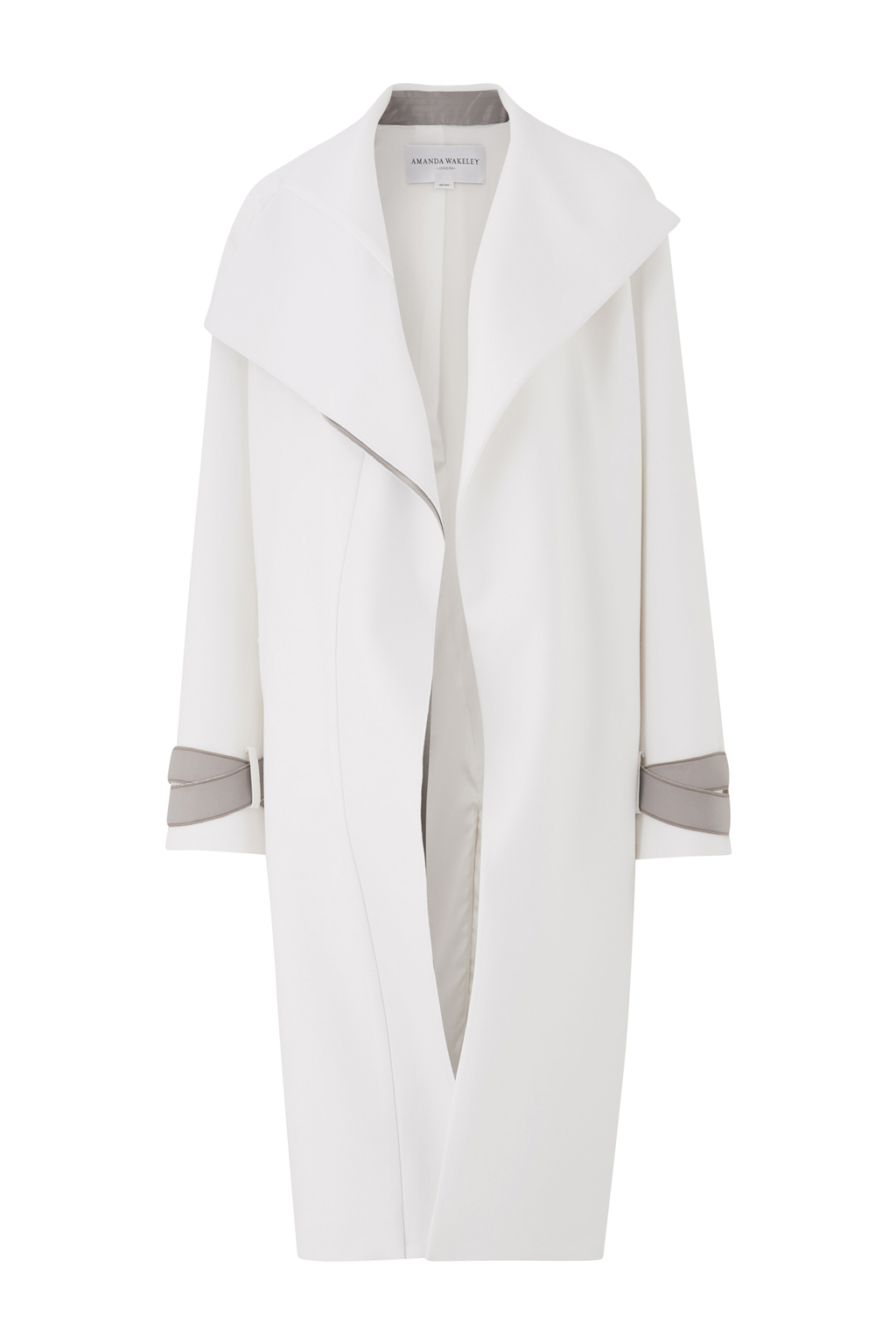 Asayii White Oversized Coat - pattern: plain; collar: shawl/waterfall; fit: loose; style: single breasted; predominant colour: white; occasions: casual; fibres: polyester/polyamide - stretch; length: below the knee; sleeve length: long sleeve; sleeve style: standard; collar break: low/open; pattern type: fabric; texture group: woven bulky/heavy; wardrobe: basic; season: a/w 2016