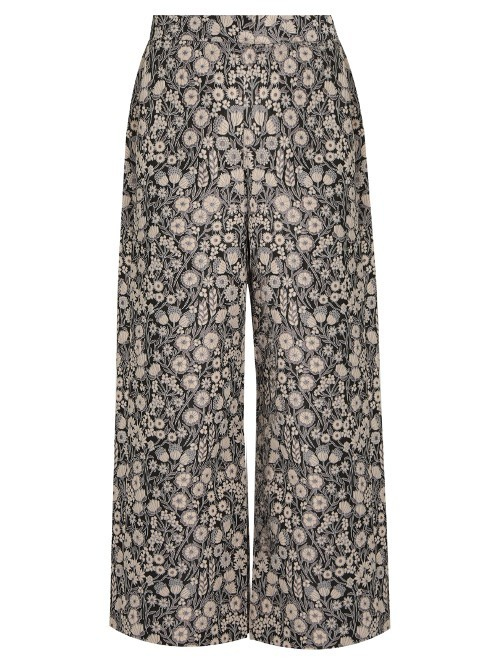 Liane High Rise Wide Leg Floral Jacquard Trousers - waist: high rise; predominant colour: stone; secondary colour: black; length: ankle length; fibres: polyester/polyamide - 100%; fit: wide leg; pattern type: fabric; pattern: patterned/print; texture group: woven light midweight; style: standard; occasions: creative work; multicoloured: multicoloured; season: a/w 2016; wardrobe: highlight