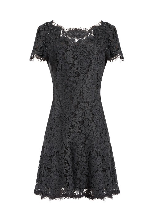 Fifi Dress - pattern: plain; predominant colour: black; occasions: evening; length: just above the knee; fit: fitted at waist & bust; style: fit & flare; fibres: cotton - mix; neckline: crew; sleeve length: short sleeve; sleeve style: standard; texture group: lace; pattern type: fabric; season: a/w 2016; wardrobe: event