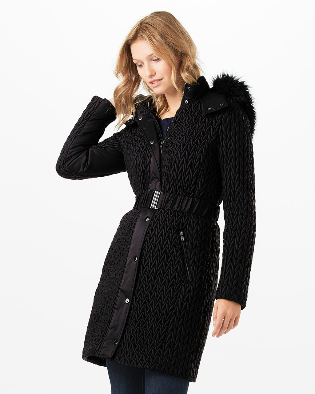 Lucilla Puffer Coat - pattern: plain; style: quilted; back detail: hood; collar: high neck; fit: slim fit; length: mid thigh; predominant colour: black; occasions: casual; fibres: polyester/polyamide - 100%; waist detail: belted waist/tie at waist/drawstring; sleeve length: long sleeve; sleeve style: standard; collar break: high; pattern type: fabric; texture group: other - bulky/heavy; embellishment: fur; season: a/w 2016; wardrobe: highlight; embellishment location: neck