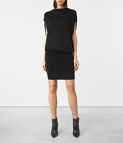 Dornie Merino Dress - neckline: slash/boat neckline; fit: tight; pattern: plain; sleeve style: sleeveless; style: blouson; predominant colour: black; occasions: evening; length: just above the knee; fibres: wool - mix; sleeve length: sleeveless; texture group: knits/crochet; pattern type: fabric; season: a/w 2016; wardrobe: event