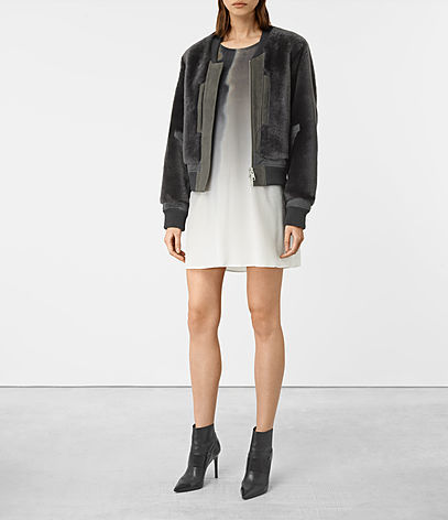 Finch Shearling Bomber Jacket - pattern: plain; collar: round collar/collarless; fit: slim fit; style: bomber; predominant colour: charcoal; occasions: casual; length: standard; fibres: sheepskin - 100%; sleeve length: long sleeve; sleeve style: standard; texture group: fur; collar break: high; pattern type: fabric; wardrobe: basic; season: a/w 2016