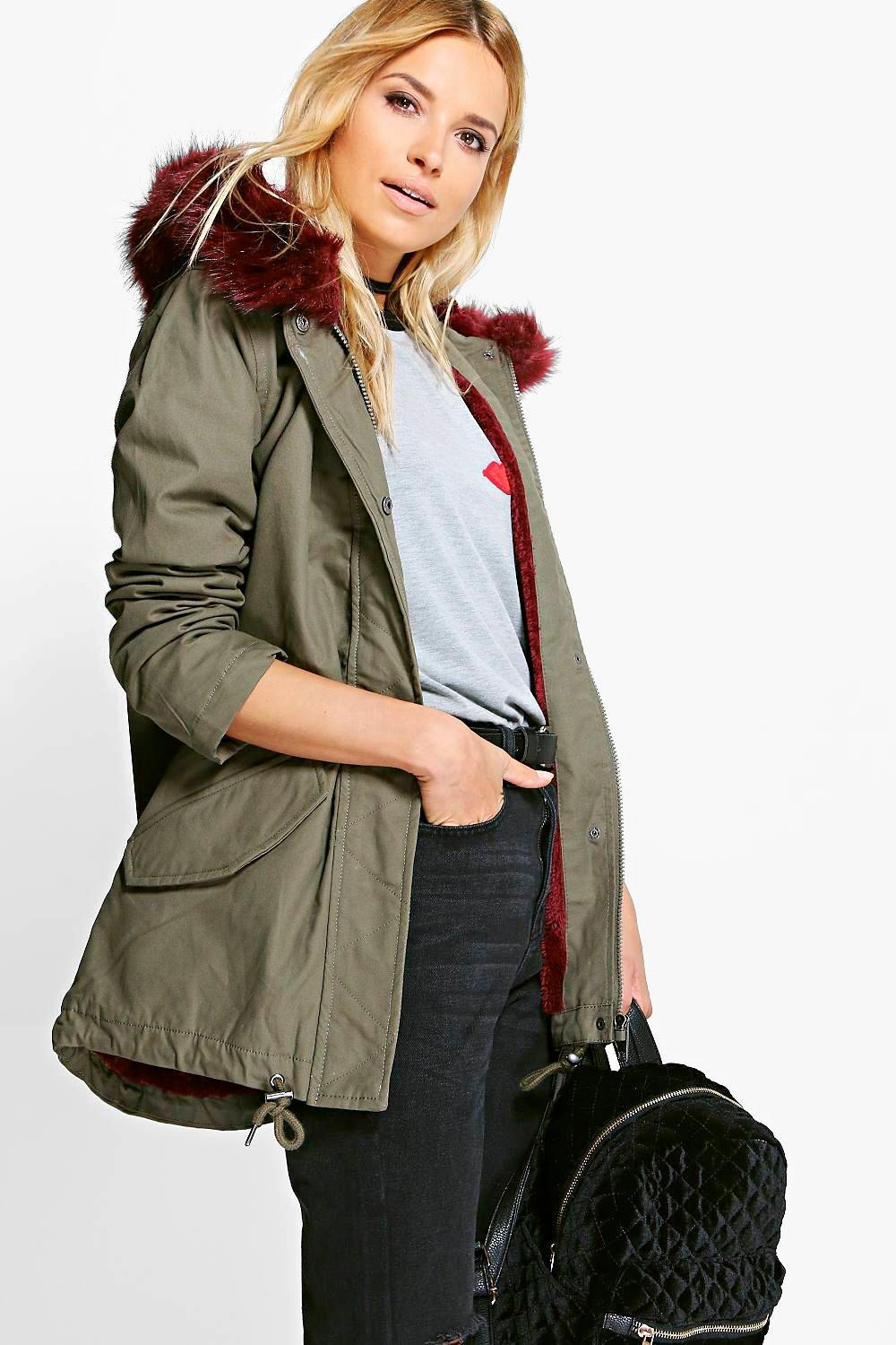 Esme Faux Fur Collar Parka Wine - pattern: plain; collar: funnel; fit: loose; style: parka; back detail: hood; length: mid thigh; secondary colour: burgundy; predominant colour: khaki; occasions: casual; fibres: cotton - 100%; sleeve length: long sleeve; sleeve style: standard; texture group: cotton feel fabrics; collar break: high; pattern type: fabric; embellishment: fur; season: a/w 2016