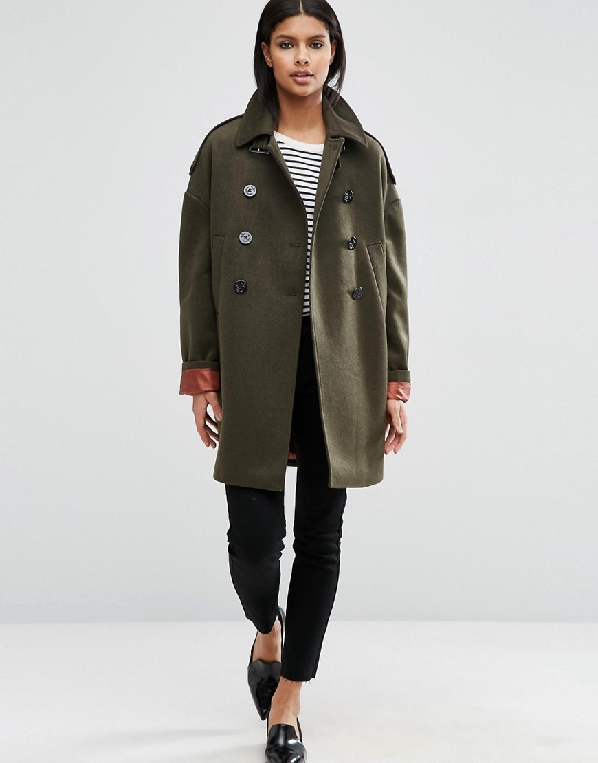 Oversized Pea Coat With Contrast Liner Khaki - pattern: plain; fit: loose; collar: standard lapel/rever collar; length: mid thigh; predominant colour: khaki; occasions: casual, creative work; style: cocoon; fibres: wool - mix; sleeve length: long sleeve; sleeve style: standard; collar break: medium; pattern type: fabric; texture group: woven bulky/heavy; wardrobe: basic; season: a/w 2016