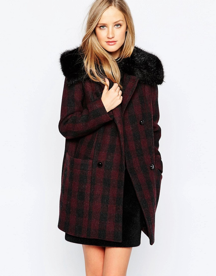 Highland Wool Faux Fur Collar Coat Biker Berry - pattern: checked/gingham; length: below the bottom; fit: loose; style: double breasted; back detail: hood; predominant colour: burgundy; secondary colour: black; occasions: casual; fibres: wool - mix; sleeve length: long sleeve; sleeve style: standard; collar: fur; collar break: high; pattern type: fabric; texture group: woven bulky/heavy; multicoloured: multicoloured; season: a/w 2016; wardrobe: highlight