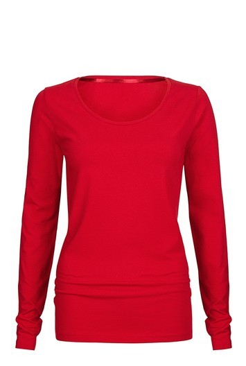 Tall Long Sleeve Scoop Neck Jersey Top At - pattern: plain; predominant colour: true red; occasions: casual; length: standard; style: top; fibres: cotton - stretch; fit: body skimming; neckline: crew; sleeve length: long sleeve; sleeve style: standard; pattern type: fabric; texture group: jersey - stretchy/drapey; season: a/w 2016; wardrobe: highlight