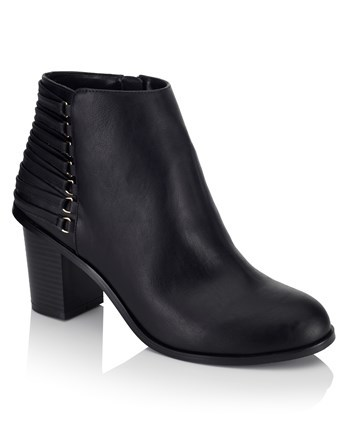 Block Heel Ankle Boots - predominant colour: black; occasions: casual; material: leather; heel height: mid; heel: block; toe: round toe; boot length: ankle boot; style: standard; finish: plain; pattern: plain; season: a/w 2016