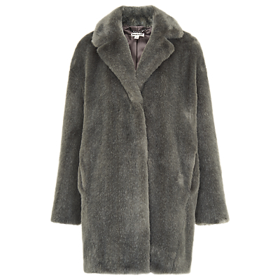 Faux Fur Cocoon Coat - pattern: plain; collar: standard lapel/rever collar; length: mid thigh; predominant colour: mid grey; occasions: casual, creative work; fit: straight cut (boxy); fibres: acrylic - 100%; style: fur coat; sleeve length: long sleeve; sleeve style: standard; texture group: fur; collar break: medium; pattern type: fabric; pattern size: standard; embellishment: fur; season: a/w 2016; wardrobe: highlight