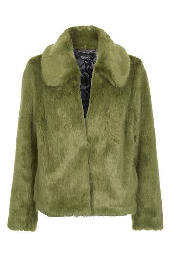 Faux Fur Coat - pattern: plain; length: standard; fit: loose; predominant colour: khaki; occasions: casual; fibres: acrylic - 100%; style: fur coat; collar: shirt collar/peter pan/zip with opening; sleeve length: long sleeve; sleeve style: standard; texture group: fur; collar break: high; pattern type: fabric; season: a/w 2016; wardrobe: highlight
