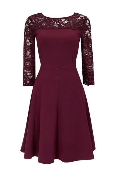 Berry Lace Fit And Flare Dress - neckline: round neck; pattern: plain; predominant colour: burgundy; occasions: evening, occasion; length: on the knee; fit: fitted at waist & bust; style: fit & flare; fibres: polyester/polyamide - stretch; sleeve length: 3/4 length; sleeve style: standard; pattern type: fabric; texture group: jersey - stretchy/drapey; embellishment: lace; shoulder detail: sheer at shoulder; season: a/w 2016; wardrobe: event; embellishment location: shoulder, sleeve/cuff