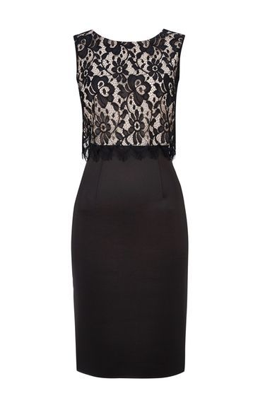 Black Lace Top Scuba Shift Dress - style: shift; length: below the knee; fit: tailored/fitted; waist detail: belted waist/tie at waist/drawstring; secondary colour: ivory/cream; predominant colour: black; occasions: evening; neckline: scoop; fibres: polyester/polyamide - stretch; sleeve length: half sleeve; sleeve style: standard; texture group: lace; pattern type: fabric; pattern size: standard; pattern: patterned/print; season: a/w 2013; wardrobe: event