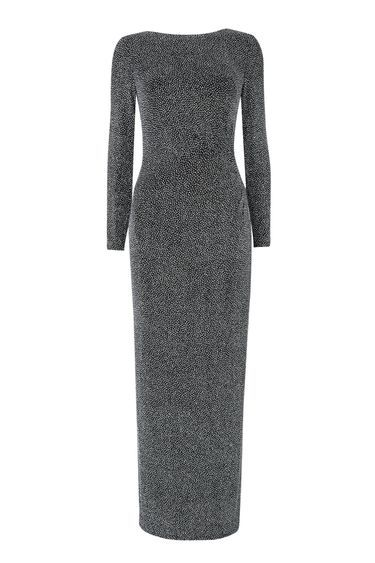 Silver Sparkle Long Sleeve Dress - pattern: plain; style: maxi dress; length: ankle length; predominant colour: silver; occasions: evening; fit: body skimming; neckline: crew; sleeve length: long sleeve; sleeve style: standard; pattern type: fabric; texture group: jersey - stretchy/drapey; fibres: nylon - stretch; season: a/w 2016; wardrobe: event; trends: sparkle