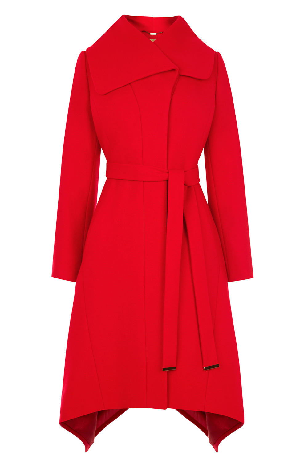 Leander Coat - pattern: plain; collar: wide lapels; style: wrap around; fit: slim fit; length: calf length; predominant colour: true red; occasions: casual; fibres: wool - mix; waist detail: belted waist/tie at waist/drawstring; sleeve length: long sleeve; sleeve style: standard; collar break: medium; pattern type: fabric; texture group: woven bulky/heavy; season: a/w 2016; wardrobe: highlight