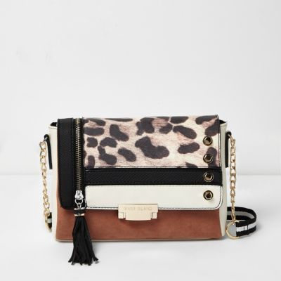 Womens Brown Mixed Print Cross Body Bag - predominant colour: camel; secondary colour: black; occasions: casual; type of pattern: standard; style: messenger; length: across body/long; size: small; material: faux leather; embellishment: tassels; pattern: animal print; finish: plain; multicoloured: multicoloured; season: a/w 2016; wardrobe: highlight