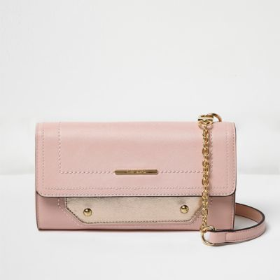 Womens Pink Foldover Cross Body Bag - predominant colour: blush; occasions: casual; type of pattern: standard; style: messenger; length: across body/long; size: small; material: faux leather; pattern: plain; finish: plain; season: a/w 2016