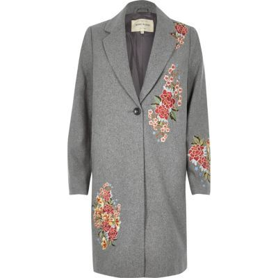 Womens Grey Floral Embroidered Wool Blend Overcoat - style: single breasted; collar: standard lapel/rever collar; length: mid thigh; secondary colour: coral; predominant colour: mid grey; occasions: casual, creative work; fit: straight cut (boxy); fibres: wool - mix; sleeve length: long sleeve; sleeve style: standard; collar break: medium; pattern type: fabric; pattern size: standard; pattern: florals; texture group: woven bulky/heavy; embellishment: embroidered; season: a/w 2016; wardrobe: highlight
