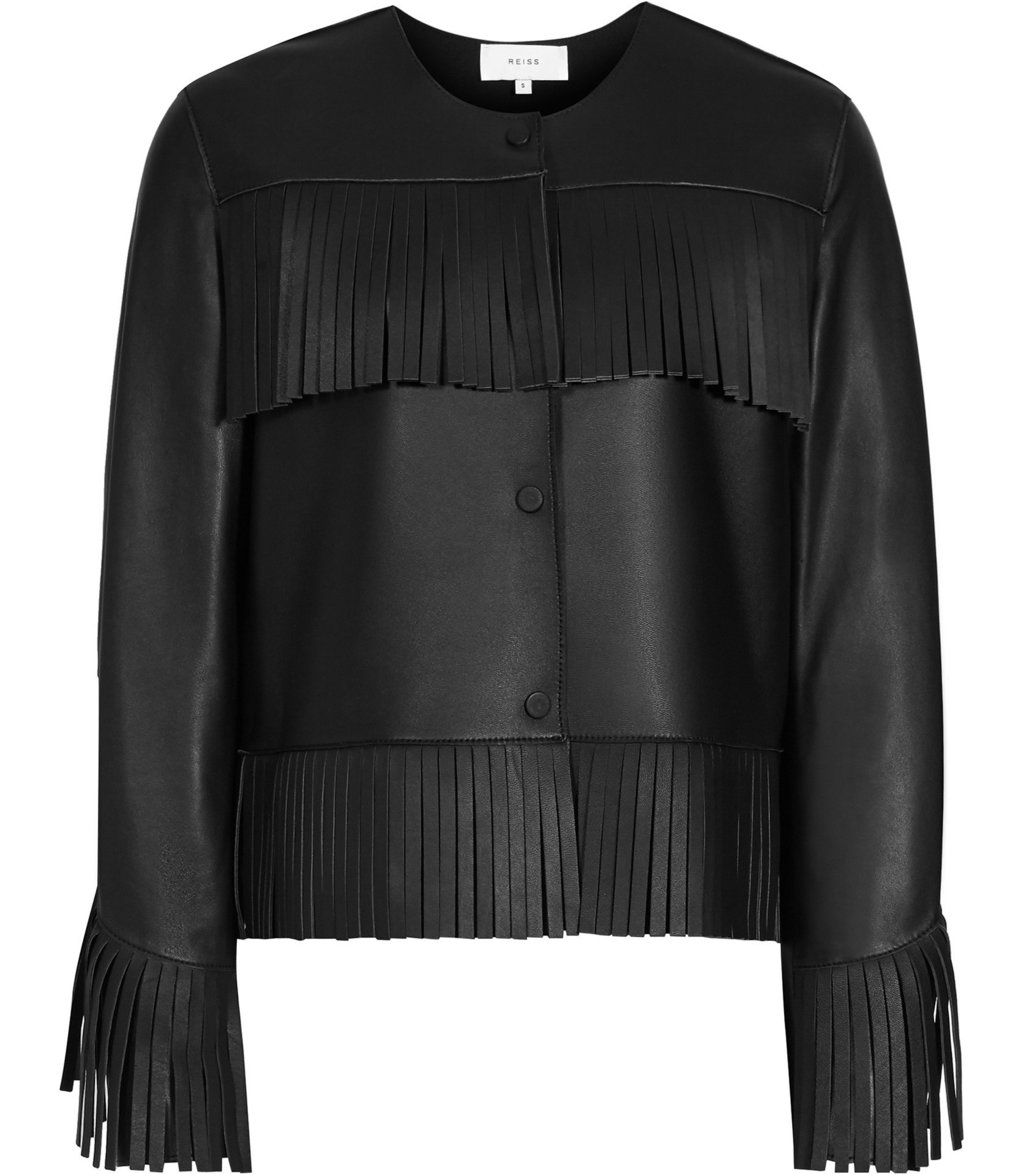 Olivia Womens Fringed Leather Jacket In Black - pattern: plain; collar: round collar/collarless; style: boxy; predominant colour: black; occasions: casual; length: standard; fit: straight cut (boxy); fibres: leather - 100%; sleeve length: long sleeve; sleeve style: standard; texture group: leather; collar break: high; pattern type: fabric; embellishment: fringing; season: a/w 2016; wardrobe: highlight; embellishment location: bust, hip, sleeve/cuff