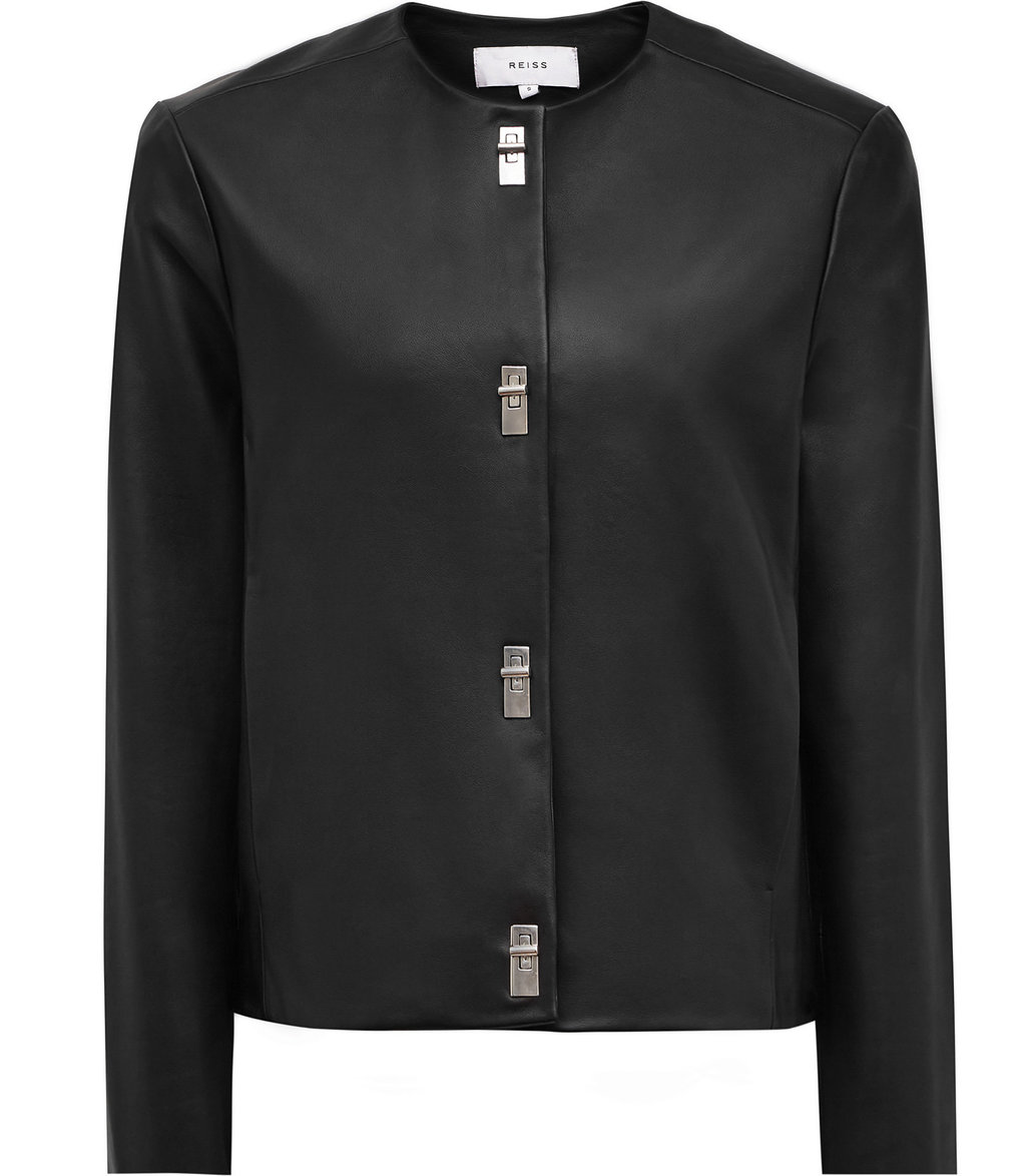 Hart Womens Twist Lock Leather Jacket In Black - pattern: plain; collar: round collar/collarless; style: boxy; predominant colour: black; occasions: evening; length: standard; fit: straight cut (boxy); fibres: leather - 100%; sleeve length: long sleeve; sleeve style: standard; texture group: leather; collar break: high; pattern type: fabric; season: a/w 2016; wardrobe: event