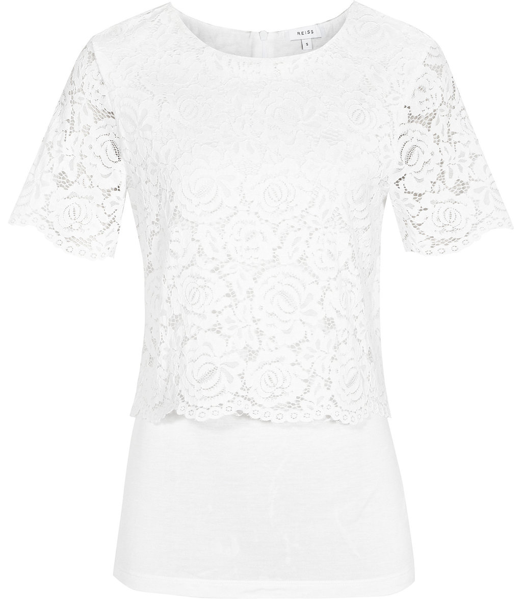 Anita Womens Layered Lace Top In White - pattern: plain; predominant colour: white; occasions: evening; length: standard; style: top; fibres: viscose/rayon - 100%; fit: body skimming; neckline: crew; sleeve length: short sleeve; sleeve style: standard; texture group: lace; pattern type: fabric; season: a/w 2016; wardrobe: event