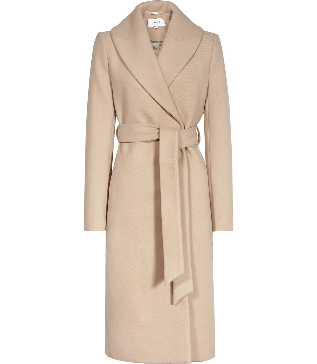 Cody Womens Longline Wrap Coat In Brown - pattern: plain; length: on the knee; style: wrap around; fit: slim fit; collar: standard lapel/rever collar; predominant colour: blush; occasions: casual; fibres: wool - mix; waist detail: belted waist/tie at waist/drawstring; sleeve length: long sleeve; sleeve style: standard; collar break: medium; pattern type: fabric; texture group: woven bulky/heavy; wardrobe: basic; season: a/w 2016