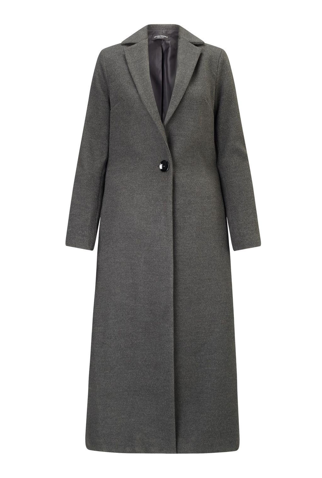 Long One Button Coat, Grey - pattern: plain; style: single breasted; collar: standard lapel/rever collar; length: calf length; predominant colour: charcoal; occasions: casual; fit: tailored/fitted; fibres: polyester/polyamide - stretch; sleeve length: long sleeve; sleeve style: standard; collar break: medium; pattern type: fabric; texture group: other - bulky/heavy; season: a/w 2016