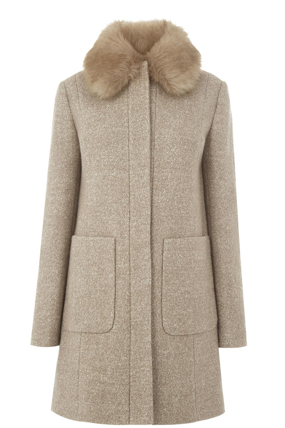 Swing Faux Fur Collar Coat, Beige - pattern: plain; fit: loose; style: single breasted; length: mid thigh; predominant colour: stone; occasions: casual; fibres: polyester/polyamide - mix; sleeve length: long sleeve; sleeve style: standard; collar: fur; collar break: high; pattern type: fabric; texture group: woven bulky/heavy; embellishment: fur; season: a/w 2016