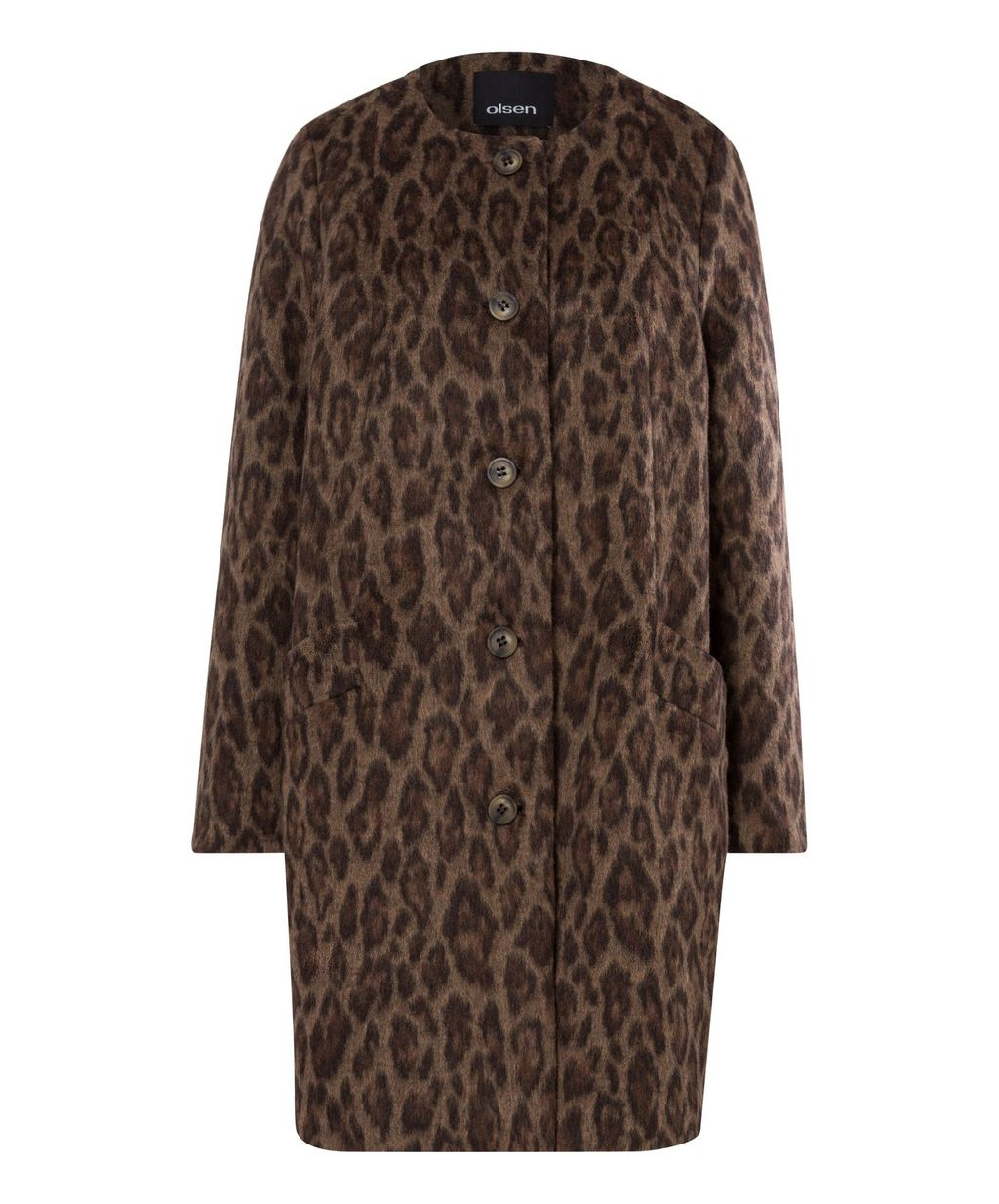 Animal Print Coat, Beige - collar: round collar/collarless; style: single breasted; length: mid thigh; predominant colour: chocolate brown; secondary colour: taupe; occasions: casual, creative work; fit: straight cut (boxy); fibres: wool - mix; sleeve length: long sleeve; sleeve style: standard; collar break: high; pattern type: fabric; pattern: animal print; texture group: woven bulky/heavy; season: a/w 2016; trends: opulent prints