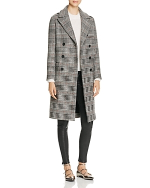 Gilbert Plaid Coat - pattern: checked/gingham; style: double breasted; length: on the knee; collar: standard lapel/rever collar; secondary colour: white; predominant colour: black; occasions: work, creative work; fit: straight cut (boxy); fibres: wool - mix; sleeve length: long sleeve; sleeve style: standard; collar break: medium; pattern type: fabric; pattern size: standard; texture group: woven bulky/heavy; season: a/w 2016; wardrobe: highlight