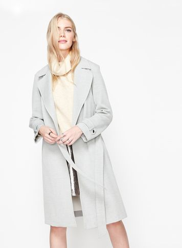 Womens Grey Stitch Mac Coat, Light Grey - pattern: plain; style: trench coat; length: on the knee; collar: standard lapel/rever collar; predominant colour: light grey; occasions: casual, creative work; fit: tailored/fitted; fibres: cotton - mix; waist detail: belted waist/tie at waist/drawstring; sleeve length: long sleeve; sleeve style: standard; texture group: cotton feel fabrics; collar break: low/open; pattern type: fabric; wardrobe: basic; season: a/w 2016