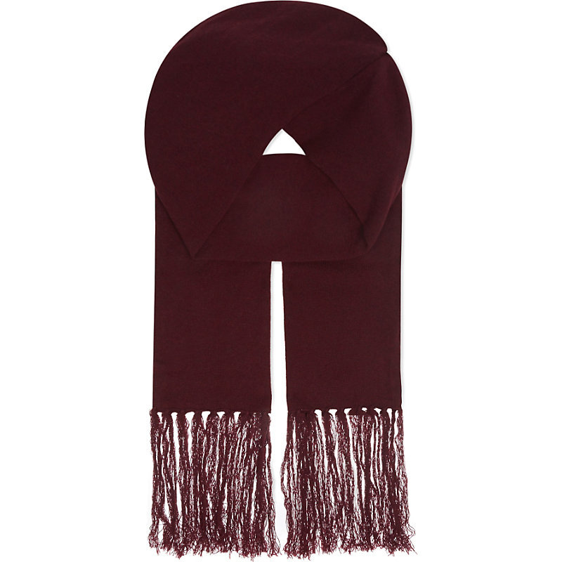 Wool Cashmere Scarf, Women's, Black - predominant colour: burgundy; occasions: casual; type of pattern: standard; style: regular; size: standard; material: fabric; embellishment: fringing; pattern: plain; season: a/w 2016; wardrobe: highlight
