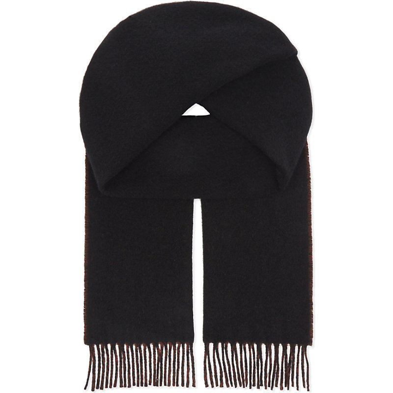 Reverso Reversible Wool Scarf, Women's, Red - predominant colour: black; occasions: casual; type of pattern: standard; style: regular; size: standard; material: knits; embellishment: fringing; pattern: plain; wardrobe: basic; season: a/w 2016