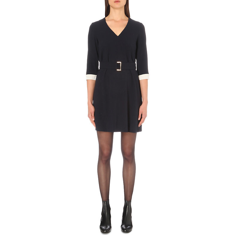 Round Crepe Mini Dress, Women's, Dark Blue/Gold - style: shift; length: mid thigh; neckline: v-neck; pattern: plain; waist detail: belted waist/tie at waist/drawstring; predominant colour: navy; occasions: evening; fit: body skimming; fibres: polyester/polyamide - 100%; sleeve length: 3/4 length; sleeve style: standard; texture group: crepes; pattern type: fabric; season: a/w 2016; wardrobe: event