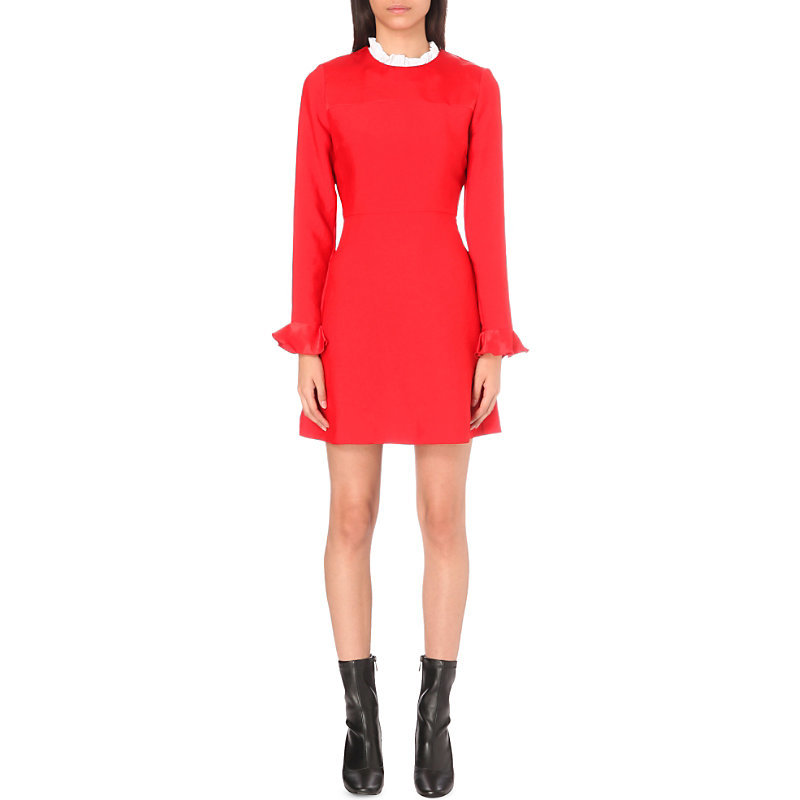 Stage Ruffled Collar Crepe Dress, Women's, Size: Large, Rouge - style: shift; length: mid thigh; sleeve style: bell sleeve; fit: tailored/fitted; pattern: plain; neckline: high neck; predominant colour: true red; occasions: evening; fibres: polyester/polyamide - 100%; sleeve length: long sleeve; texture group: crepes; pattern type: fabric; season: a/w 2016; wardrobe: event