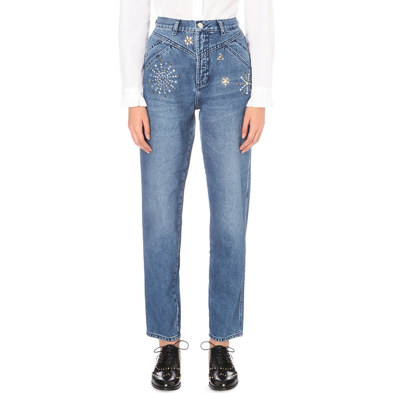 Patsy Regular Fit High Rise Jeans, Women's, Jean - style: straight leg; length: standard; pattern: plain; waist: high rise; predominant colour: denim; occasions: casual; fibres: cotton - stretch; texture group: denim; pattern type: fabric; pattern size: standard (bottom); wardrobe: basic; season: a/w 2016