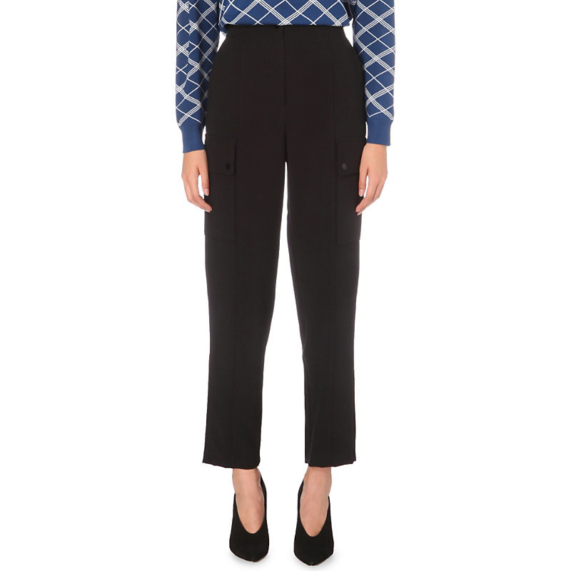 Plug Stretch Woven Trousers, Women's, Noir - pattern: plain; waist: high rise; predominant colour: black; occasions: work; length: ankle length; fibres: polyester/polyamide - stretch; fit: straight leg; pattern type: fabric; texture group: woven light midweight; style: standard; wardrobe: basic; season: a/w 2016