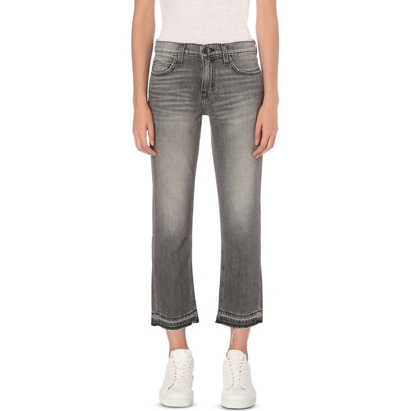 Metal Straight Slim Fit Jeans, Women's, Metal W Released Hem - style: straight leg; pattern: plain; waist: high rise; pocket detail: traditional 5 pocket; predominant colour: black; occasions: casual; length: ankle length; fibres: cotton - stretch; jeans detail: whiskering, shading down centre of thigh; texture group: denim; pattern type: fabric; season: a/w 2016