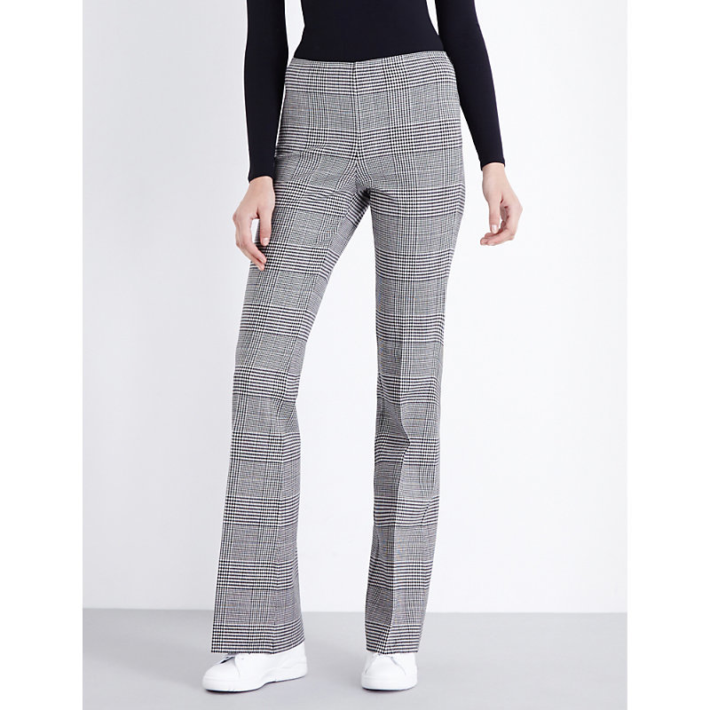 Demitria Checked Stretch Wool Trousers, Women's, Black White - length: standard; pattern: checked/gingham; waist: high rise; predominant colour: black; occasions: work; fibres: wool - 100%; fit: straight leg; pattern type: fabric; texture group: woven light midweight; style: standard; season: a/w 2016; wardrobe: highlight