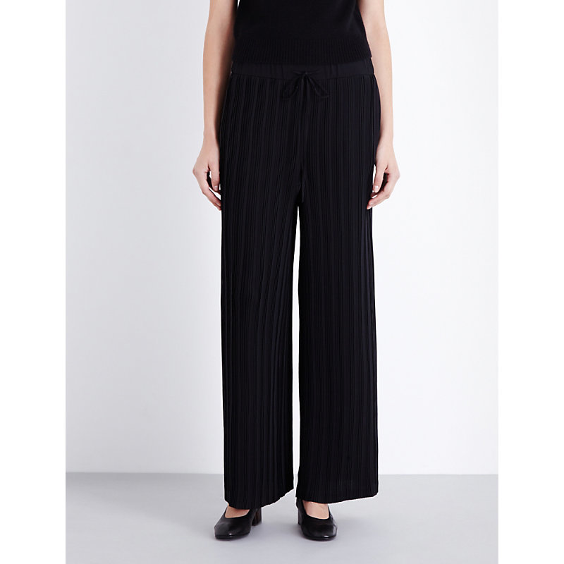 Wide Leg Pleated Georgette Trousers, Women's, Black - length: standard; pattern: plain; waist: high rise; predominant colour: black; occasions: work; fibres: wool - stretch; fit: wide leg; pattern type: fabric; texture group: woven light midweight; style: standard; wardrobe: basic; season: a/w 2016