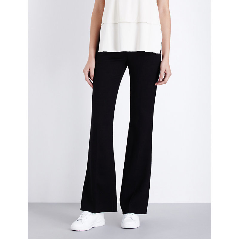 Demitria Flared Stretch Wool Trousers, Women's, Black - length: standard; pattern: plain; waist: mid/regular rise; predominant colour: black; occasions: work; fibres: wool - stretch; fit: flares; pattern type: fabric; texture group: woven light midweight; style: standard; season: a/w 2016
