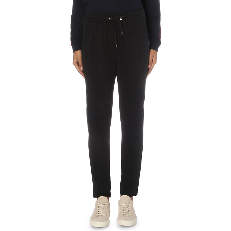 Jersey Jogging Bottoms, Women's, Black - pattern: plain; style: tracksuit pants; waist detail: belted waist/tie at waist/drawstring; waist: mid/regular rise; predominant colour: black; occasions: casual, creative work; length: ankle length; fibres: polyester/polyamide - 100%; texture group: crepes; fit: slim leg; pattern type: fabric; wardrobe: basic; season: a/w 2016