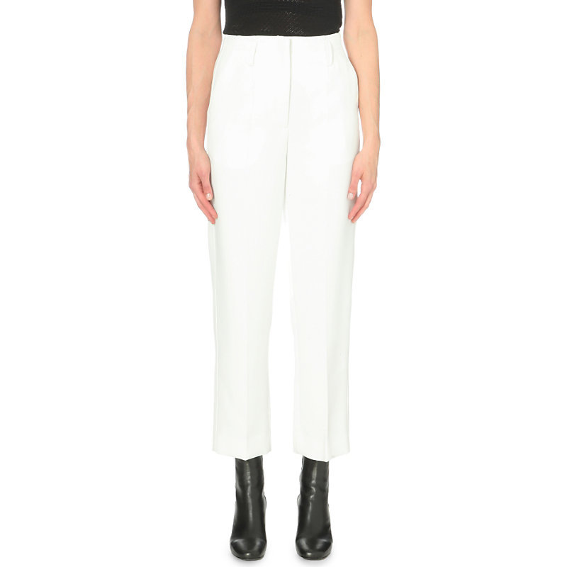 Magic Tapered Stretch Woven Trousers, Women's, White - pattern: plain; waist: high rise; predominant colour: white; occasions: casual; length: ankle length; fibres: polyester/polyamide - stretch; fit: straight leg; pattern type: fabric; texture group: woven light midweight; style: standard; pattern size: standard (bottom); season: a/w 2016