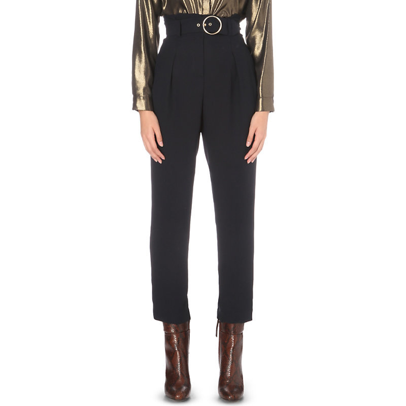 Peacock Belted Regular Fit High Rise Crepe Trousers, Women's, Dark Blue/Gold - pattern: plain; waist: high rise; waist detail: belted waist/tie at waist/drawstring; predominant colour: navy; occasions: work, creative work; length: ankle length; fibres: polyester/polyamide - 100%; texture group: crepes; fit: straight leg; pattern type: fabric; style: standard; wardrobe: basic; season: a/w 2016