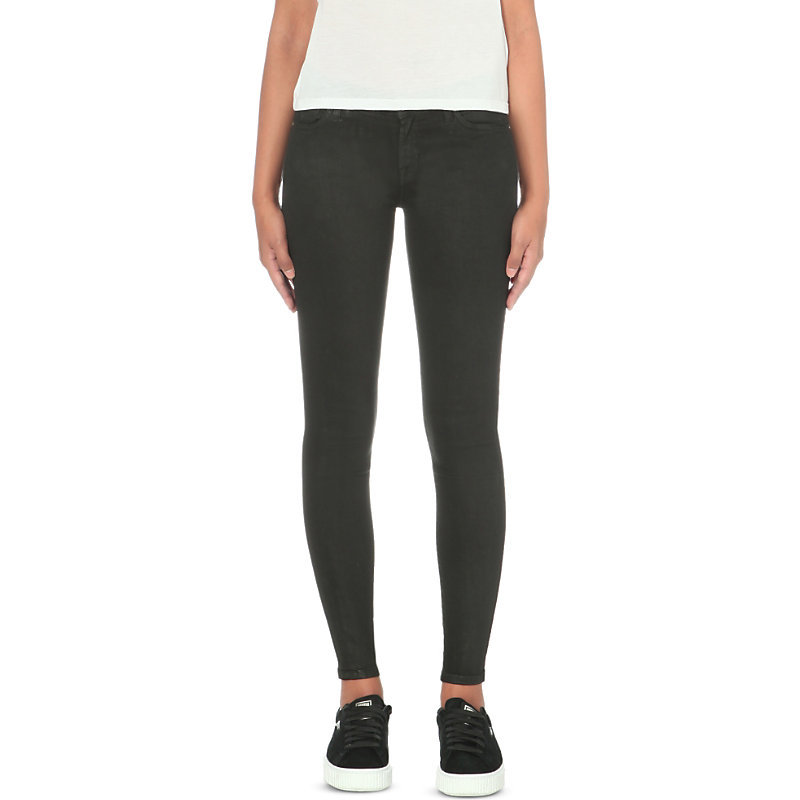 Skinny Mid Rise Jeans, Women's, Black - style: skinny leg; length: standard; pattern: plain; waist: mid/regular rise; predominant colour: black; occasions: casual, creative work; fibres: cotton - stretch; texture group: denim; pattern type: fabric; pattern size: standard (bottom); wardrobe: basic; season: a/w 2016