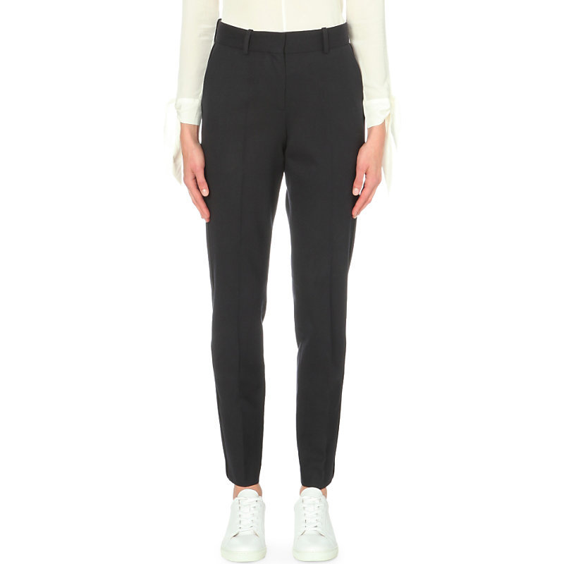 Paire Tapered High Rise Stretch Wool Trousers, Women's, Blue - pattern: plain; waist: high rise; predominant colour: black; occasions: work, creative work; length: ankle length; fibres: wool - stretch; fit: tapered; pattern type: fabric; texture group: woven light midweight; style: standard; pattern size: standard (bottom); wardrobe: basic; season: a/w 2016