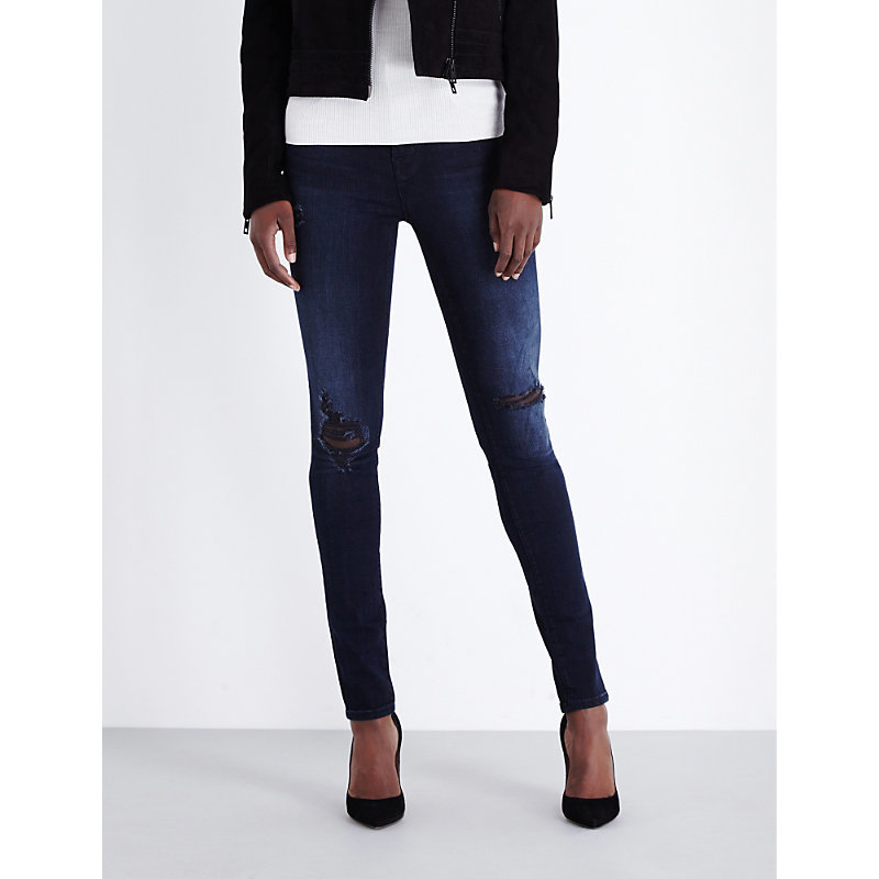 Maria Skinny High Rise Jeans, Women's, Destructed Sanctity - style: skinny leg; length: standard; pattern: plain; pocket detail: traditional 5 pocket; waist: mid/regular rise; predominant colour: navy; occasions: casual; fibres: cotton - stretch; jeans detail: shading down centre of thigh, rips; texture group: denim; pattern type: fabric; wardrobe: basic; season: a/w 2016