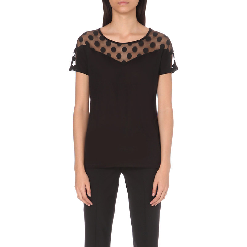 Tammie Jersey T Shirt, Women's, Size: Small, Noir - neckline: round neck; pattern: plain; length: below the bottom; predominant colour: black; occasions: evening, creative work; style: top; fibres: viscose/rayon - 100%; fit: body skimming; sleeve length: short sleeve; sleeve style: standard; pattern type: fabric; texture group: jersey - stretchy/drapey; embellishment: lace; season: a/w 2016; wardrobe: highlight