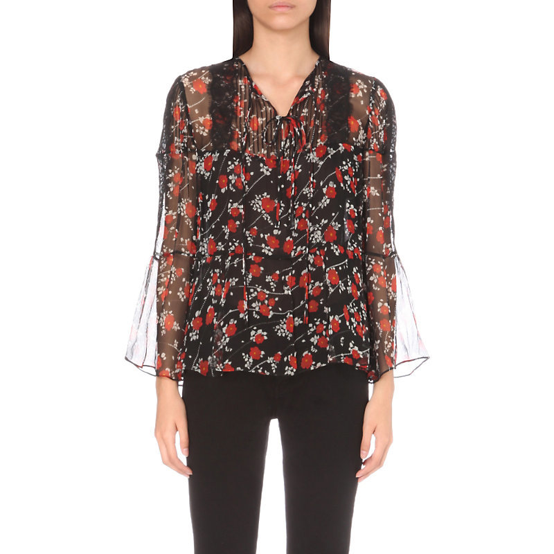 Floral Print Silk Top, Women's, Size: Medium, Black Red - neckline: v-neck; sleeve style: bell sleeve; predominant colour: black; occasions: evening, work, creative work; length: standard; style: top; fibres: silk - 100%; fit: loose; sleeve length: 3/4 length; texture group: silky - light; pattern type: fabric; pattern size: light/subtle; pattern: florals; multicoloured: multicoloured; season: a/w 2016
