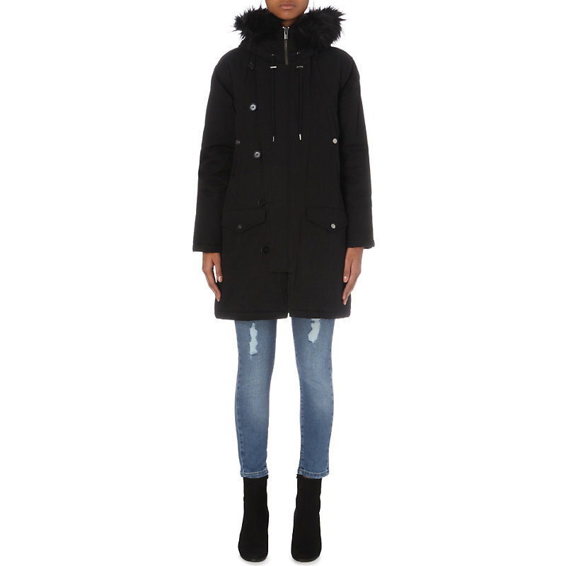 Faux Fur Trim Cotton Canvas Parka Coat, Women's, Size: Xs, Black - pattern: plain; collar: funnel; fit: loose; style: parka; back detail: hood; length: mid thigh; predominant colour: black; occasions: casual; fibres: cotton - 100%; sleeve length: long sleeve; sleeve style: standard; texture group: technical outdoor fabrics; collar break: high; pattern type: fabric; embellishment: fur; season: a/w 2016; wardrobe: highlight