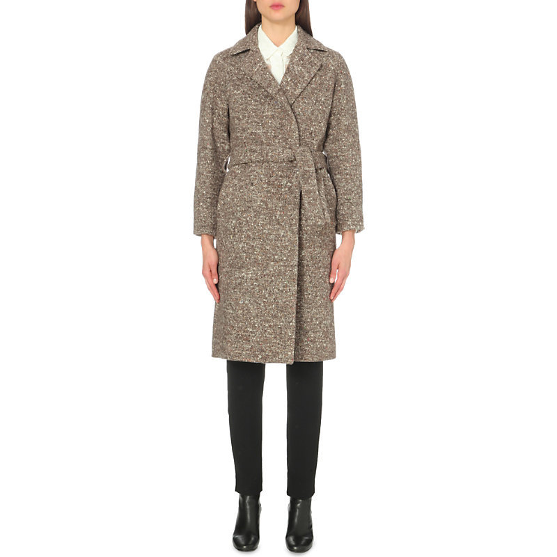 Dummy Wool Blend Coat, Women's, Beige - pattern: plain; length: on the knee; style: wrap around; fit: slim fit; collar: standard lapel/rever collar; predominant colour: stone; occasions: work; fibres: wool - mix; sleeve length: long sleeve; sleeve style: standard; collar break: medium; pattern type: fabric; texture group: woven bulky/heavy; season: a/w 2016